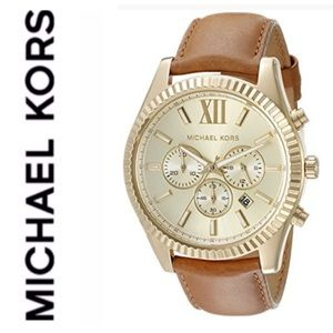 New MK Lexington leather strap gold tone watch